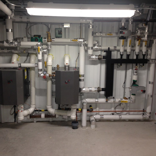 large commercial plumbing setup
